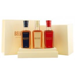 Подарунковий набір віскі Bellevoye Tricolore 3 пляшки по 0,2л у коробці