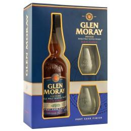 Віскі Glen Moray Port Cask Finish подарунковий набір + 2 келиха ТМ Glen Moray