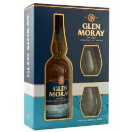 Віскі Glen Moray Peated Single Malt подарунковий набір + 2 келиха
