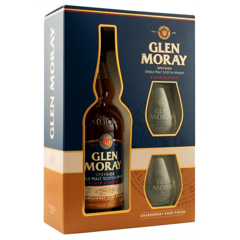 Виски Glen Moray Chardonnay 0,7л в коробке + 2 стакана