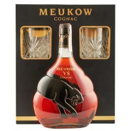 """Коньяк """"Meukow VS"""" 0.7л подарунковий набір+2 бокала ТМ """"Meukow"""""""