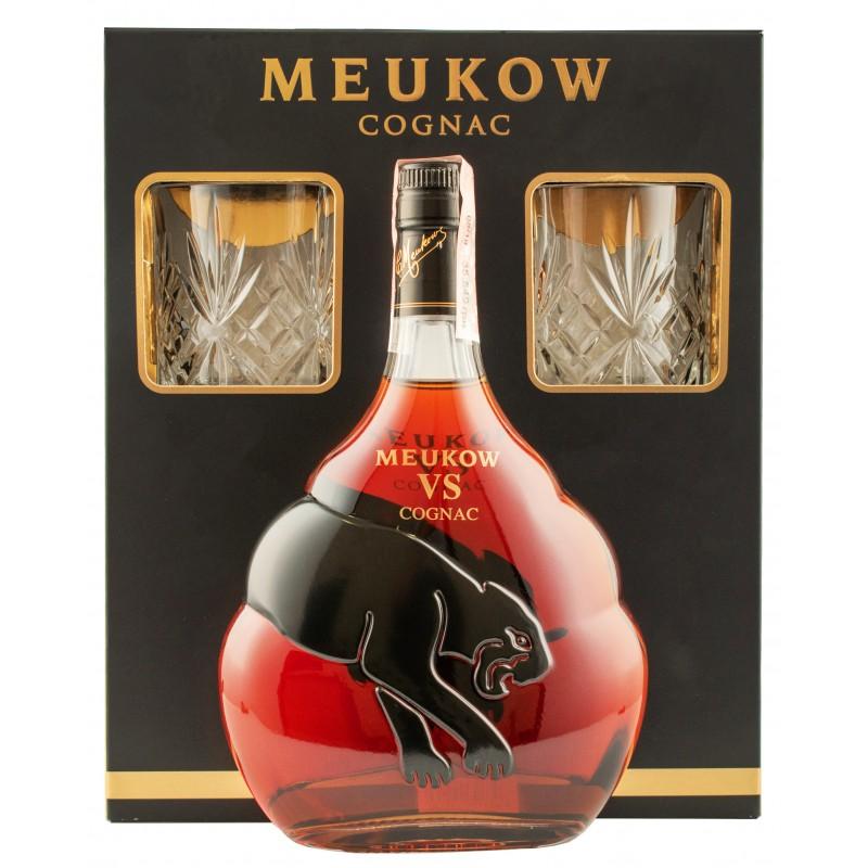 """Коньяк """"Meukow VS"""" подарочный набор с 2 бокалами ТМ """"Meukow"""""""