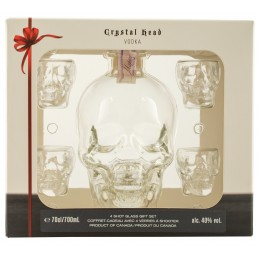 "Водка ""Crystal Head"" в коробке + 4 рюмки 0.7"
